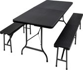 TecTake - campingtafel met banken - opklapbaar - kunststof - 402209