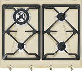 Smeg SRV864POGH kookplaat Crème Ingebouwd Gaskookplaat