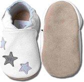 Hobea - babyslofjes - grijze sterren - wit