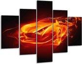 Glasschilderij Auto   Rood, Zwart, Geel   100x70cm 5Luik   Foto print op Glas    F003297