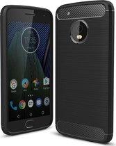 Motorola Moto G5 Plus Geborsteld TPU Hoesje Zwart