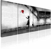 Schilderij - Banksy: Wegvliegende Ballon  , meisje , rode ballon , 5 luik