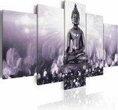 Schilderij - Elegante Inspiratie , boeddha , grijs , 5 luik