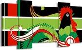 Canvas schilderij Abstract   Groen, Rood, Wit   120x65 5Luik