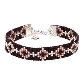 Mint15 Geweven armband 'Black Diamonds' - Zilver