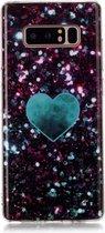 Let op type!! Voor Galaxy Note 8 gekleurde tekening patroon IMD vakmanschap zachte TPU beschermende case (groene liefde)