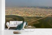 Een artistieke luchtfoto van de stad Allahabad in de deelstaat Uttar Pradesh fotobehang vinyl breedte 385 cm x hoogte 240 cm - Foto print op behang (in 7 formaten beschikbaar)