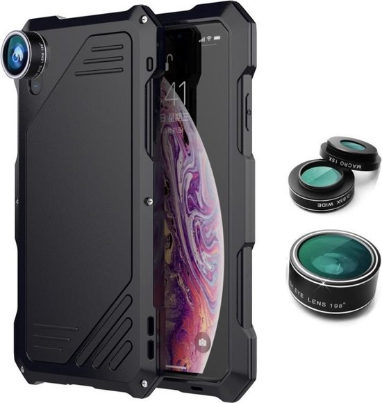 Let op type!! Waterproof Shockproof Dustproof Protective Case for iPhone XS Max  with 0.63X Wide Angle + 198 Degree Fisheye + 15X Macro Mobile Phone Lens Kit (Black)