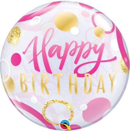 Reuze ballon Bubble Happy Birthday Roze - 56 cm