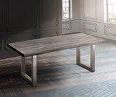 Massief houten tafel Live-Edge Acacia Platinum 200x100 boven 5,5 cm breed houten tafel