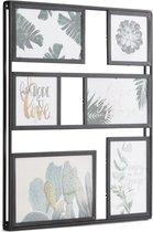 LIFA LIVING Moderne Fotolijst |  Zwarte Fotocollage |  Metalen Fotolijst Collage voor 6 Foto's |  Multi Foto Collage voor Woonkamer |  Slaapkamer |  Keuken |  32 x 40.5 x 2.5 cm