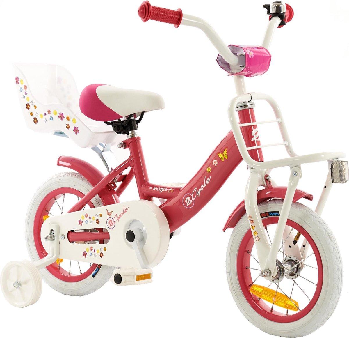 2Cycle Magic Kinderfiets - 12 inch - Poppenzitje - Roze - Meisjesfiets