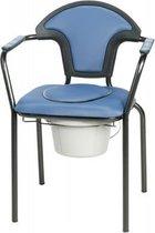 Toiletstoel blauw met comfortabele zitting en emmer met deksel - postoel