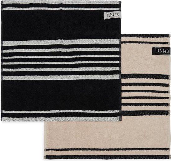 Riviera Maison RM 48 Kitchen Towel - Keukendoeken - Black / Flax - 50.0 x 50.0 - 2 pieces