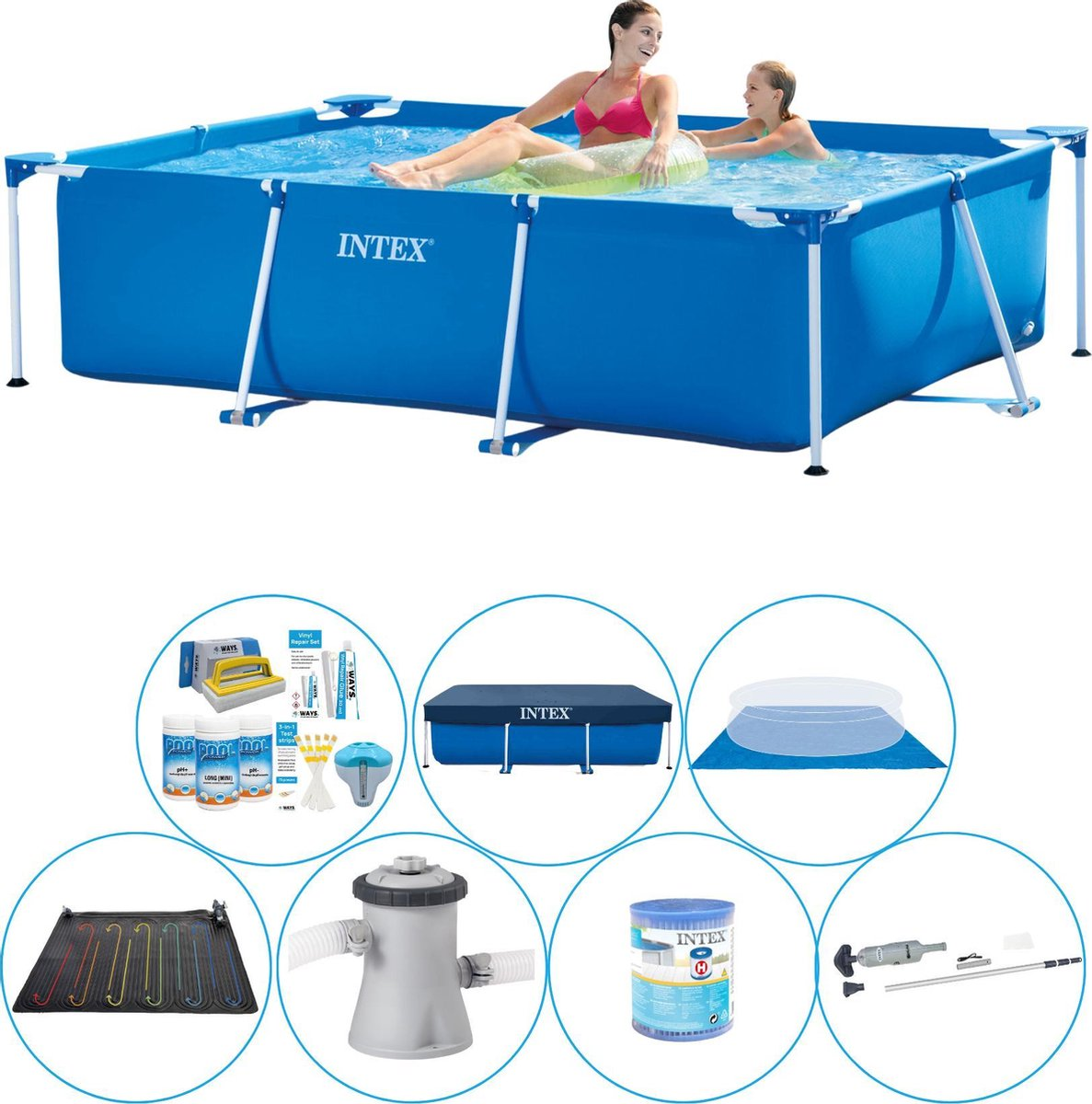 Intex Frame Pool Zwembad - 220 x 150 x 60 cm - Totaal pakket