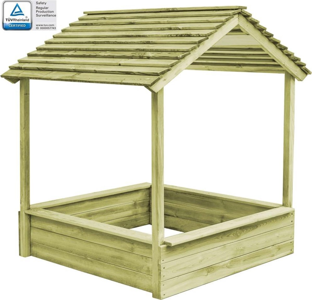 vidaXL Buitenspeelhuis met zandbak 128x120x145 cm grenenhout