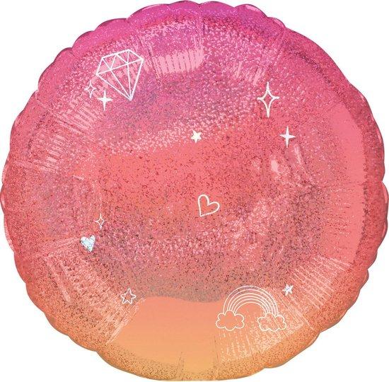 Amscan Folieballon Glitter Meisjes 50 Cm Roze/oranje