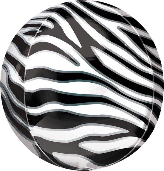 Orbz Folieballon Orbz Zebra Print 41 Cm Zwart/wit