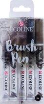 Talens Ecoline 5 brush pens ''Grey''