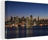 Skyline van San Fransisco bij nacht Canvas 90x60 cm - Foto print op Canvas schilderij (Wanddecoratie woonkamer / slaapkamer) / Amerikaanse steden Canvas Schilderijen
