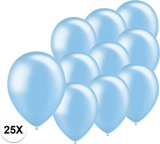 Licht Blauwe Ballonnen Metallic 25 Stuks Feestversiering Gender Reveal Verjaardag Ballon