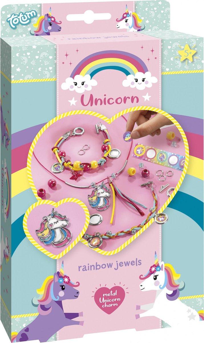 Totum unicorn regenboogsieraden maken - rainbow jewellery -  2 armbandjes & kettinkje - sieradenset