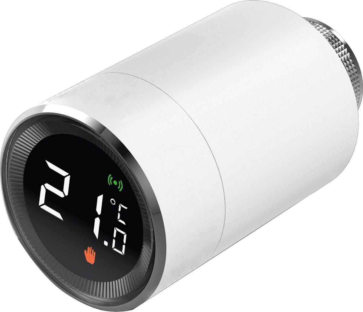 Alecto SMART-HEAT10 Smart Zigbee thermostaatkraan - Gemakkelijk te installeren - Regel temperatuur per kamer