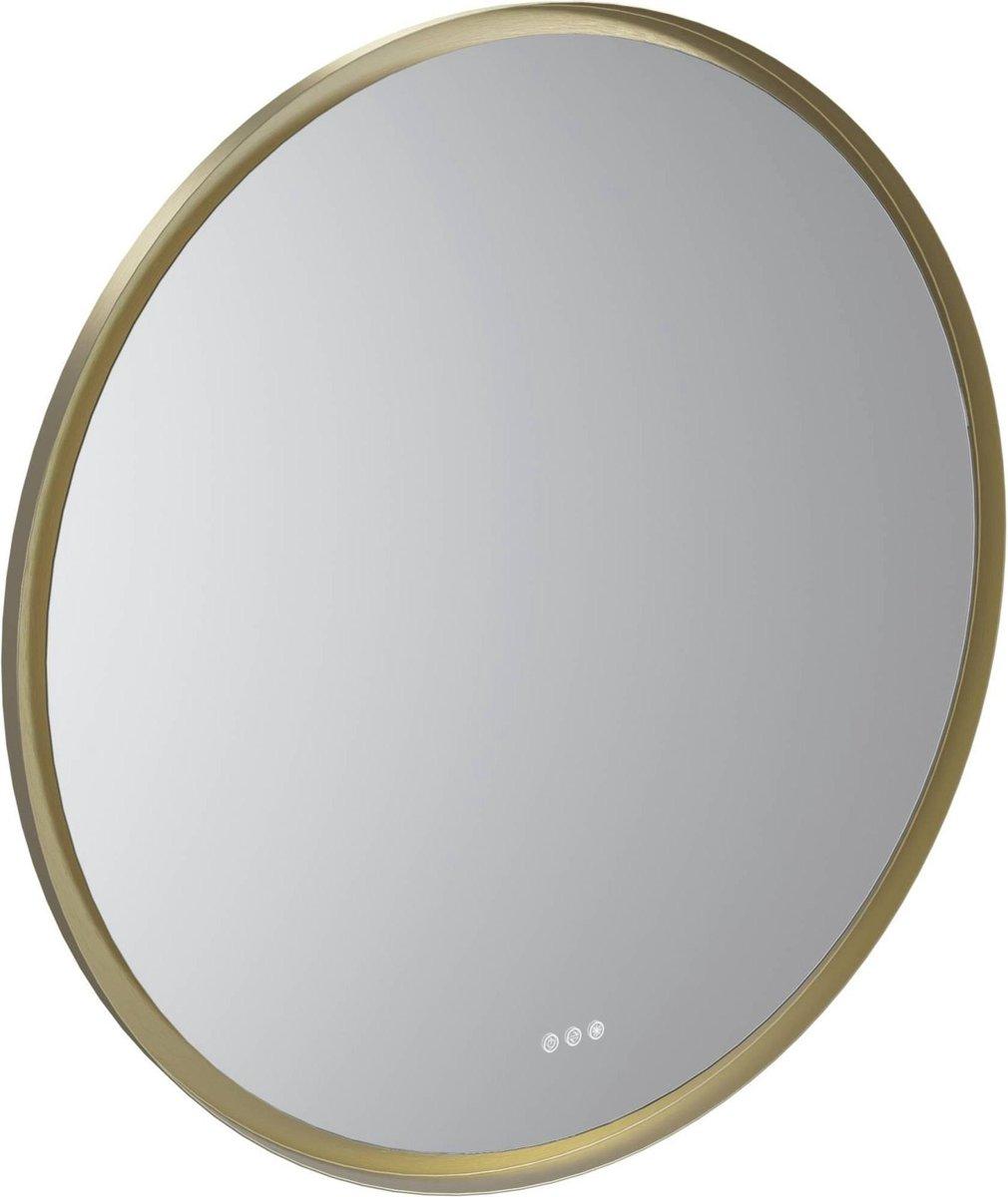 Nancy's Globe Ronde trendy spiegel met indirecte verlichting - Touch schakelaar - Dim & lichtkleur aanpassen - Spiegels boven wastafel - Ø 80 cm - Wit