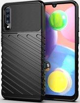 Samsung Galaxy A70 Twill Thunder Texture Back Cover Zwart