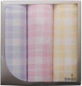 Swan Dames zakdoeken wit ruitje  3-pak  - 30  - Blauw