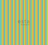 ESTAhome stof strepen limegroen en oranje | 184603 | 157 cm|