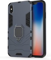 Let op type!! PC + TPU Shockproof Protective Case with Magnetic Ring Holder For iPhone XS Max (Navy Blue)