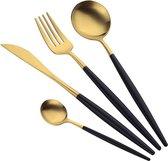 Trendfield Zwart Gouden Bestekset 6 Persoons - 24 Delige Bestek Set in Luxe Doos - Zwart/Goud