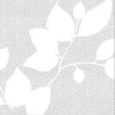 Statische Raamfolie - Vensterfolie - Hoogwaardig - Met Relief - Inclusief Montageset - Bladeren Wit - 45cm x 300cm