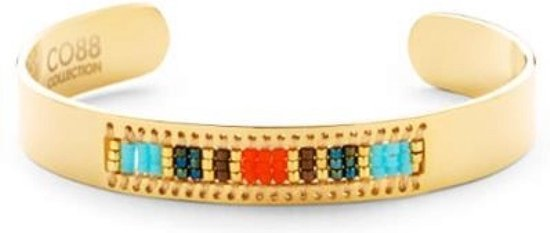 CO88 Collection Serenity 8CB 90128 Stalen Open Bangle met Miyuki Beads - One-size (63x50x10 mm) - Goudkleurig
