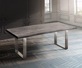 Massief houten tafel Live-Edge acacia platinum 200x100 top 5,5cm frame smal boomtafel