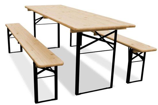 Biertafel en banken 220 x 70 Premium | Blank | Zwart onderstel