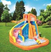 Waterpark turbo splash met klimwand en zwembad, incl airblower - 365x320x270cm