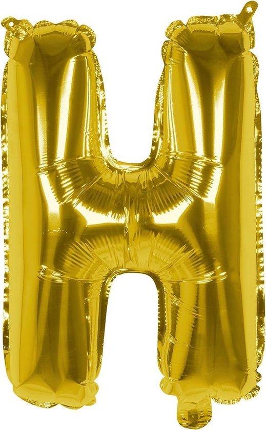 Boland Folieballon Letter H 36 Cm Goud