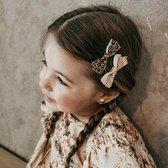Haarspeldjes met strik animal fever | Wit, Bruin, Zwart, Goud | Baby, Meisje