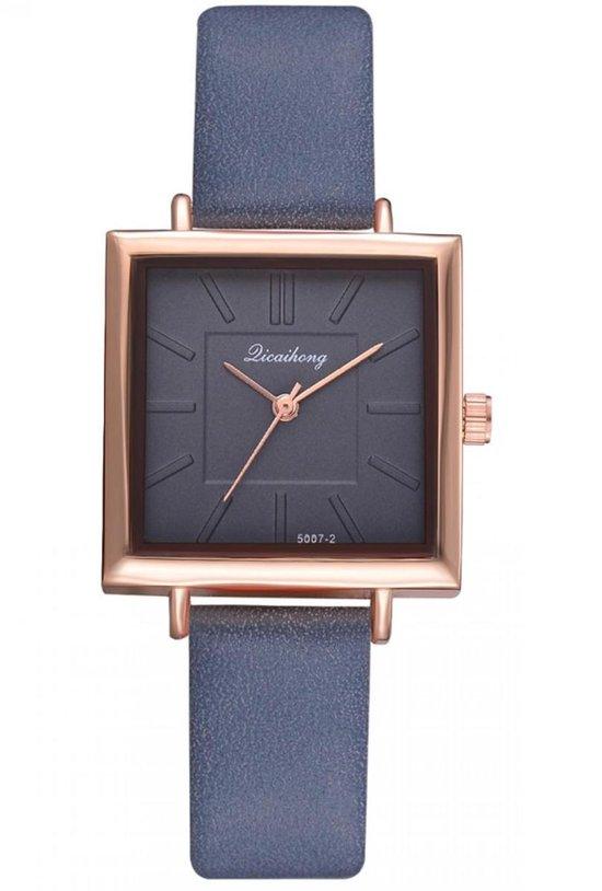 Hidzo Horloge Dicaihong Ø 28 – Blauw – Kunstleer – Met Horlogedoosje