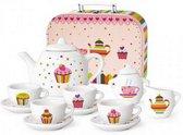 Porseleinen Cupcake kinderservies in koffertje