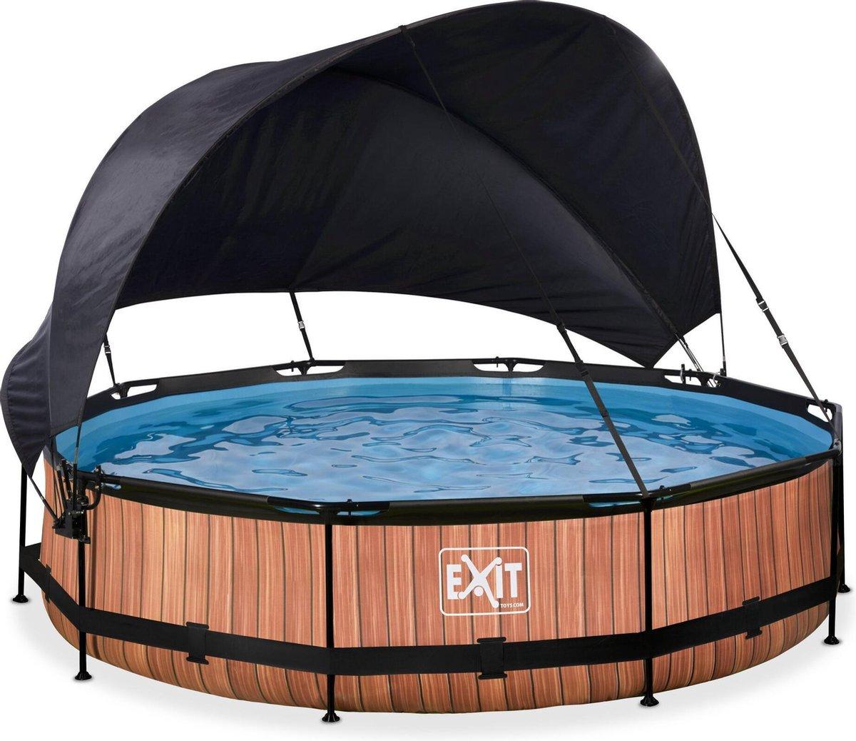 EXIT Wood zwembad ø360x76cm met schaduwdoek en filterpomp - bruin