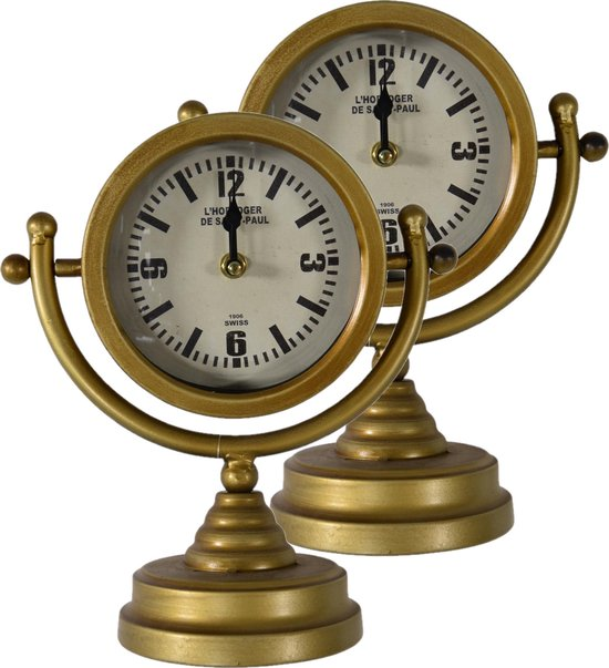 Gouden retro tafelklok Luzern decoratie 26 cm metaal - Tafelmodel tafelklok - Woondecoraties/woonaccessoires