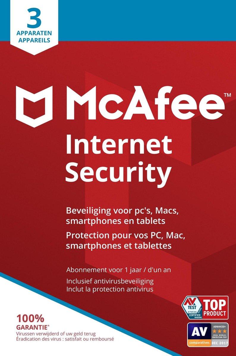 McAfee Internet Security - Multi-Device - 3 Apparaten - 1 Jaar - Nederlands / Frans - Windows / Mac
