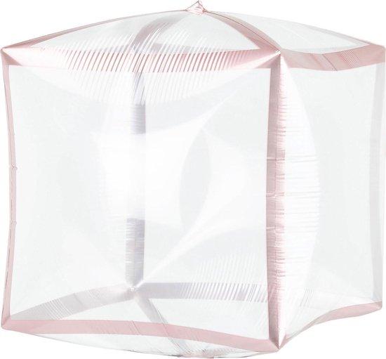 Amscan Folieballon Kubus 38 Cm Transparant/roze