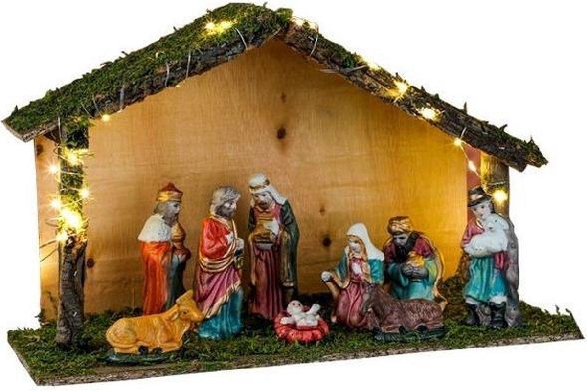Verlichte kerststal met kerststal beeldjes 40 x 16 x 25,5 cm - Kerststalletjes/kerststallen met licht/verlichting kopen