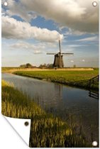 Windmolen aan het water in West-Friesland tuinposter los doek 80x120 cm - Tuindoek / Buitencanvas / Schilderijen voor buiten (tuin decoratie)