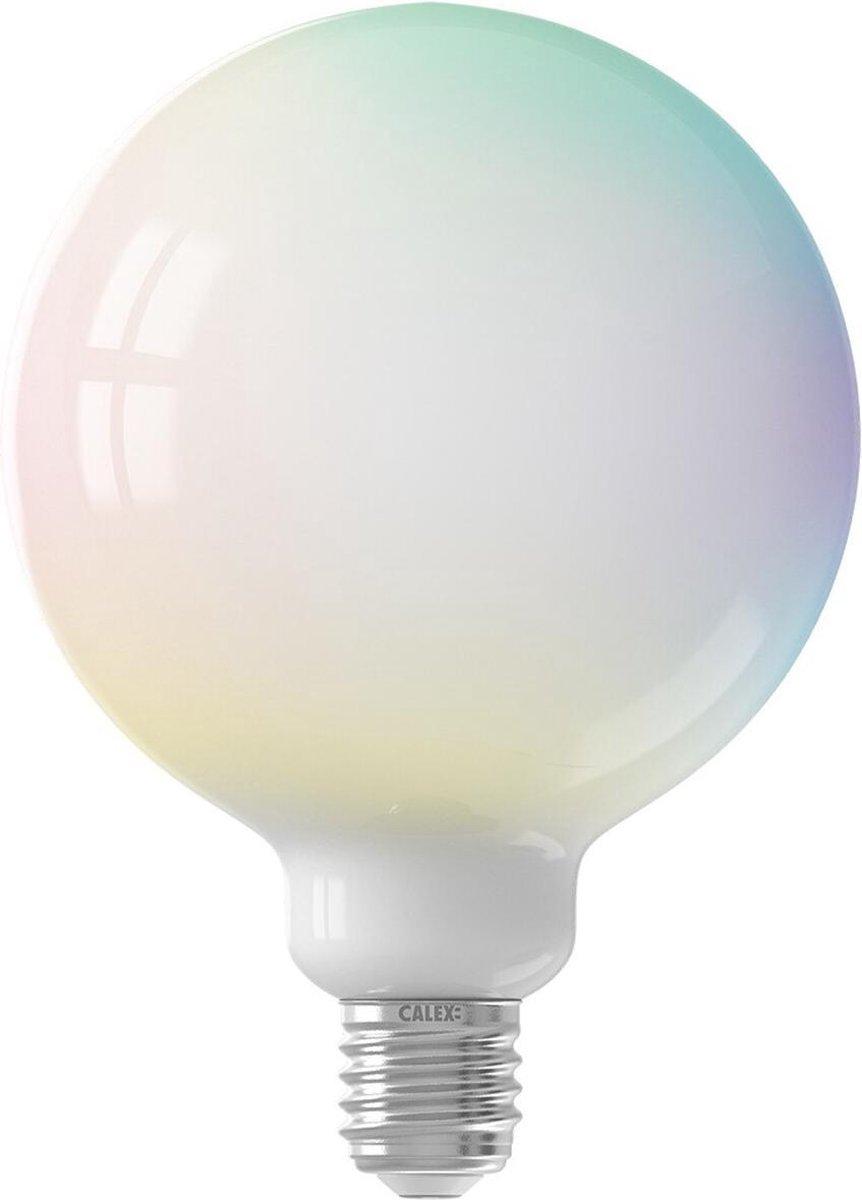 CALEX - LED Lamp - Globe - Smart LED G125 - E27 Fitting - Dimbaar - 5W - Aanpasbare Kleur CCT - RGB - Mat Wit - BSE