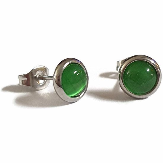 Aramat jewels ® - Oorbellen zweerknopjes groen cats eye chirurgisch staal 8mm